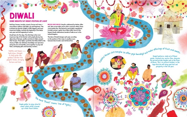 The festival of Diwali depicted in the big book of festivals