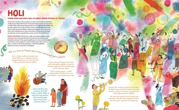 The festival of Holi depicted in the big book of festivals