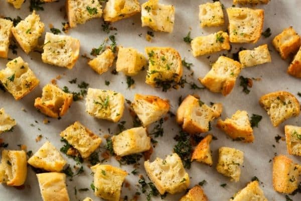 Delicious croutons to complement the tomato soup