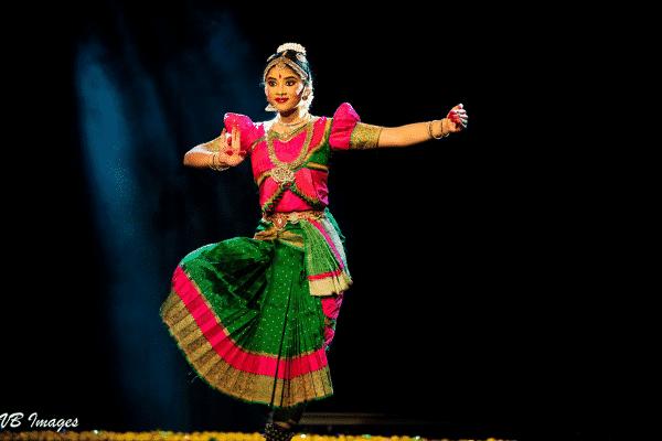 Sagarika as she performs a dance pose.