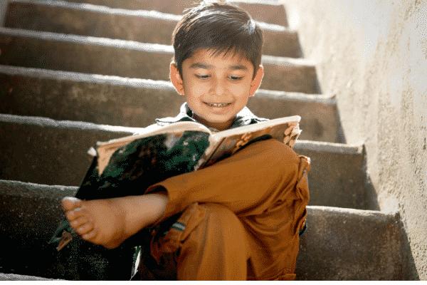 Optimistic attitude encouraging children to take interest in their study.