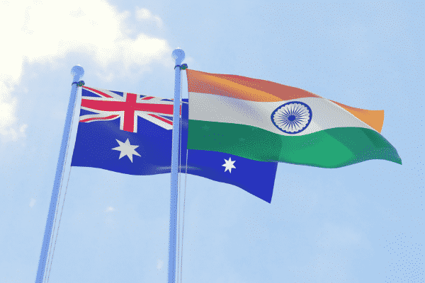 The Indian and Australian flag raised high