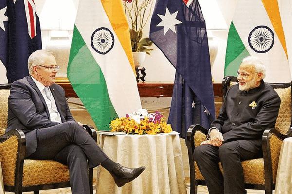 Narendra Modi (India) and Scott Morrison (Australia) at conference