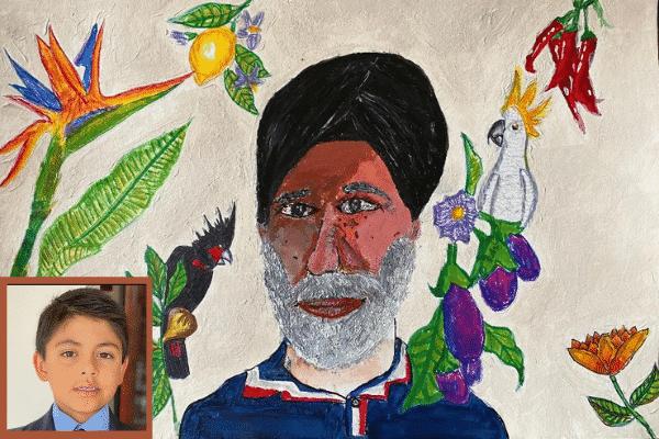 Viraj Tandon and his painting 'My Grandfather's Secret Garden'.