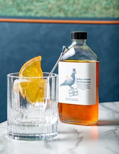 Foreign Return's bottled cocktail Saffron Fennel Old Fashioned