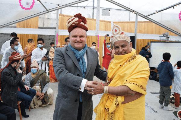 Jason Wood with Pujya Acharya