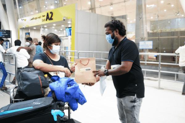 Gaura Travel boarding their Australia bound flights at Chennai International Airport. Image supplied