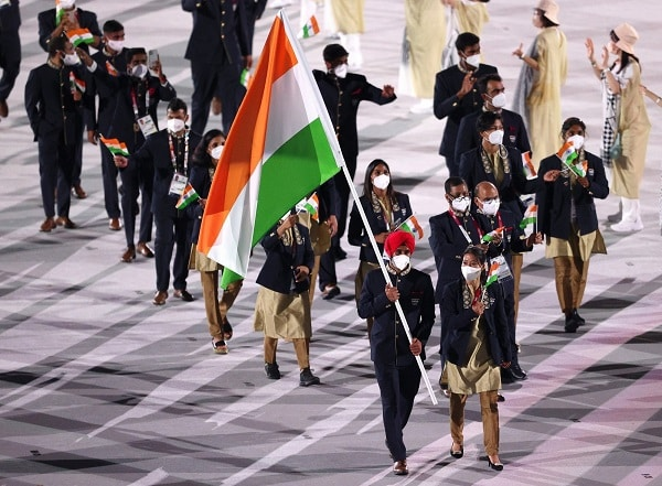 Indian Contingent marches by at the Opening Ceremony of Tokyo Olympics. ( Credit : Olympics Twitter)