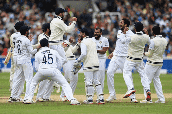 The Indian men's cricket team celebrate their third win ever at Lords stadium in England.