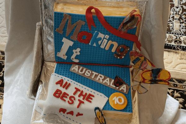 Cake lovingly baked by Rehana's mum. Source: Supplied
