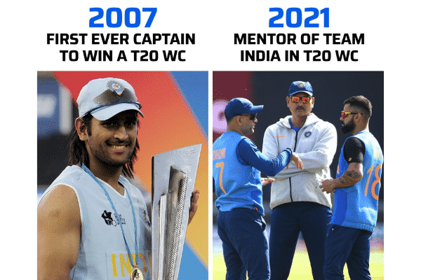 M.S Dhoni captained the 2007 T20 WC and now mentoring in 2021. Source: Twitter