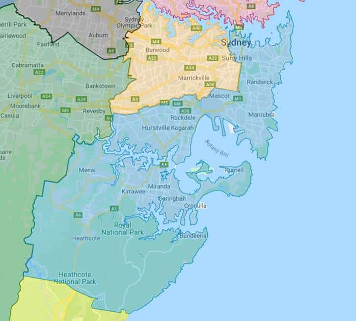 Local Health Districts map: SESLHD is in blue, SLHD is in yellow. Source: LHD Maps - Local health districts (nsw.gov.au)