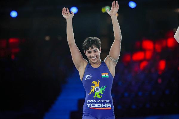 Anshu Malik rejoicing her silver medal win. Source: Twitter