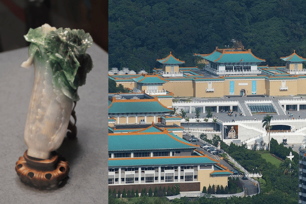 The fabled Jadeite Cabbage, the top-ranked exhibit at the National Palace Museum in Taipei, Taiwan.