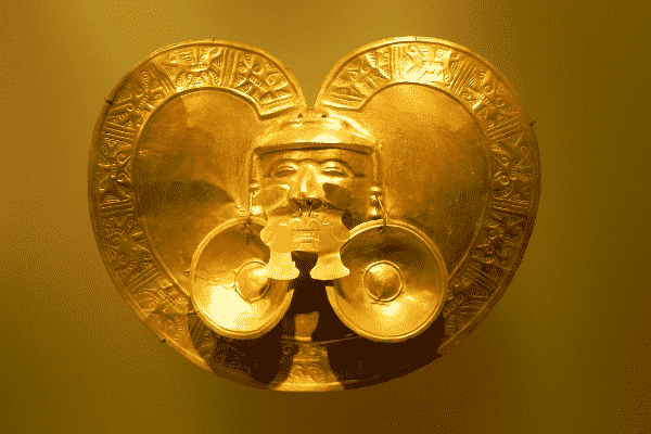 An ancient gold artefact, probably worn as body armour or adornment, at the Museo del Oro Bogota, Colombia.